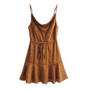 goodnight macaroon polka dot tie front mini dress